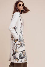NWT Anthropologie Embroidered Foliage Coat, size M, Birds By Hemant & Nandita