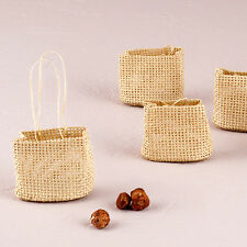 12 - Natural Miniature Woven Beach Bags - Beach Themed Wedding Party Favor