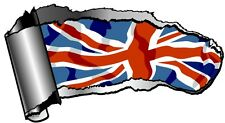 Ripped Open GASH Rip Torn Metal & Union Jack British UK Flag Car Sticker Decal
