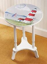 Lighthouse Beach Nautical Ocean Side End Round Table Home Decor Pine Wood NEW