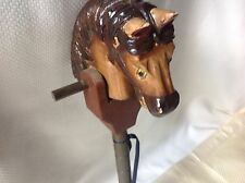 VINTAGE CARVED TOY STICK HOBBY HORSE WITH WHEELS 20.5'