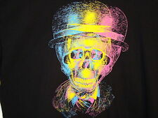3 D Neon Skull with Top Hat and Glasses Shirt Short Sleeve Steam Punk XXL