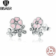 Authentic 925 Solid Sterling Pink Enamel Daisy Cherry Blossom Drop Earrings Gift