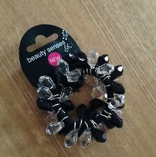 A Black And Crystal Beaded Hair Bobble/Scrunchie