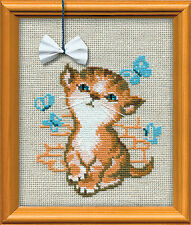 "Kitten With Bow Cross Stitch Kit - 6"" x 7"""
