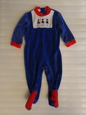 Vtg Boys UK British Royal Queens Guard Soldier Velour Romper One Piece Size 6-9M