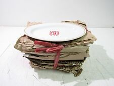 "9"" SMALL OVAL SERVING PLATTER/PLATE WHITE/GOLD TRIM (LOT OF 10) *NEW *"