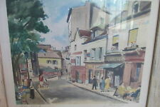 Framed Water Colored Lithograph Painting Board Paris Street Signed Perrifor#2