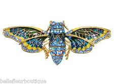 Fairyland Bee Pin *Keeper of the Enchanted Garden* with Sparkling Blue Crystals