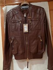 DSQUARED2  100%AUTHENTIC MEN'S BROWN LEATHER JACKET ITALY SIZE 50 / M- L