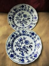 PAIR ANTIQUE FLOW BLUE BROWN WESTHEAD MOORE MEISSEN ONION SOUP BOWLS