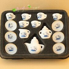 Dollhouse Miniature 1:12  Porcelaine teaware chinese tea pots set swan printed