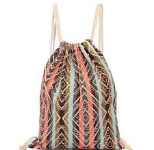 Ethnic style Drawstring Canvas Backpack, Tribal Boho Chic bag FREE SHIPPING
