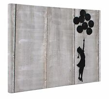"Banksy Balloon Girl Canvas Black Grey Print Wall Art A1 Large 20"" X 30"" New"