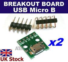 2pcs Female Micro USB Breakout Board 5-pin DIP prototype adapter prototyping -UK