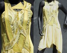 HELMUT LANG ONE OF A KIND YELLOW LEATHER SEQUINED SILK DRESS NWT SIZE S
