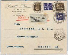 ITALIA REGNO storia postale: 4 valori  IMPERIALE su BUSTA a PRAGA Cecoslovacchia