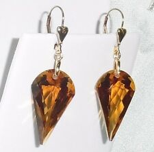 32cts Fancy Madeira Citrine gemstones, 14kt yellow gold Heart Leverback Earrings