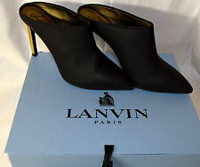 $950 NIB LANVIN MULE SHOE UN SMOOTH CALFSKIN BLACK NOIR AMAZING SHOES 40 9.5