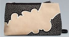 ZARA WOMAN BEIGE BLACK SUEDE LEATHER STUDDED CLUTCH BAG!