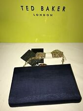 BNWT TED BAKER WOMEN'S ALIVIA NECKLACE HARDCASE CLUTCH - NAVY. Gift Idea!