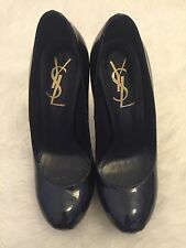 YSL Patent Leather Navy Blue Stiletto Size 35 / UK2 Round Toe Platform