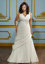 New White/Ivory Wedding Dress Bridal Gown Custom Plus Size 18 20 22 24 26 28 30+