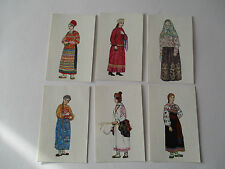 PROVINCIAL COSTUMES OF RUSSIA - SET OF 6 POSTCARDS WITH UNUSED POSTAGE STAMP
