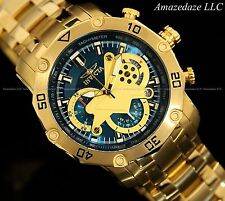 Invicta Men ProDiver Scuba Skeletonized Dial 18KT Gold Plated Stainless St Watch