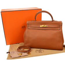 Authentic HERMES KELLY 35 2way Hand Bag Brown Traurillon Clemence Leather K07517