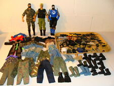 HASBRO G I JOE MILITARY LOT OF 3 DOLLS & OVER 125 CLOTHES, BOOTS & ACCESSORIES