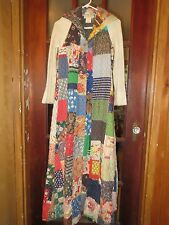 """VTG Womens 1960s FULL LENGTH PATCH QUILTED SWEATER HIPPY COAT BY """"PERIPHERY"""" S-P"""