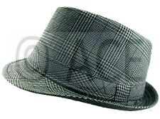 Unisex Mens Womens Check Tweed Fedora Hats Dance Costume Gangster Trilby Hat