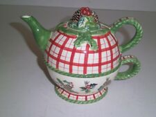 Hand Painted Tracy Porter WINTERLAND Christmas Holiday Individual Teapot & Cup