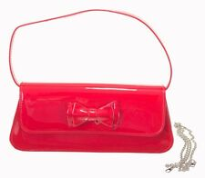 Banned Mimi 50s Rockabilly Varnished Shiny Glossy Clutch Purse Red Bow Handbag