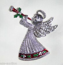 Christmas Gift Shiny Angel Of Peace W Trumpet Silver Crystal Brooch