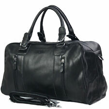 Mens Black Soft Leather Travel Luggage Duffle Gym Bag Shoulder Bags Weekender