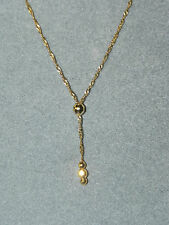 "Vintage 14k Yellow Gold Lariat Style Necklace 17"" Long, plus the dangle"