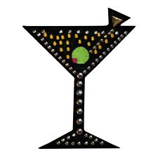 ID 1942 Silver Studded Martini Glass Alcoholic Bar Drink Iron On Applique Patch