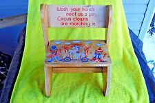 """VINTAGE/OLD CHILDS FLIP STEP STOOL CHAIR CIRCUS CLOWNS 1966  """"WASH YOUR HANDS"""""""