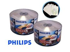 100 16X Philips Logo Blank DVD+R DVDR Disc 4.7GB + 100 Paper Sleeve with Window