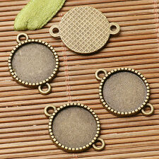 20pcs antiqued bronze color round cabochon setting in 14mm connector  EF3040