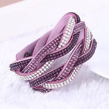 ELEGANT leather bracciale Slake realizzati con cristalli Swarovski-Viola Tessuto Nuovo