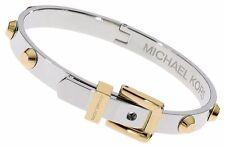 Michael Kors MKJ1892 Women's Silver Gold Tone Studs Buckle Bracelet Jewelry