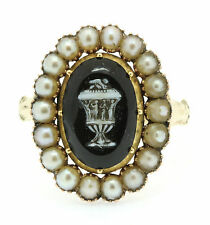 An Unusual Georgian Black & White Agate Urn & Pearl Cluster Mourning Ring 1800's