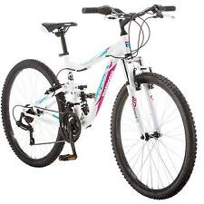 "Mongoose Women's Mountain Bike 26"" Bicycle Aluminum Frame Full Suspension NEW"