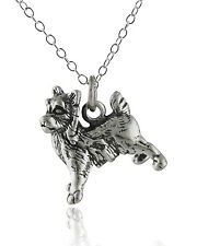 Yorkshire Terrier Dog Necklace - 925 Sterling Silver - 3D Charm Yorkie Dogs NEW