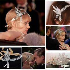 Flapper 1920 Great Gatsby Style Pearl Crown Head Hair L# Dress Band Bridal