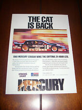 1989 MERCURY COUGAR RACE CAR DAYTONA 24 HOUR  - ORIGINAL AD