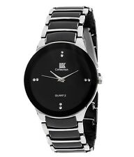 IIK Collection Stylish Trendy Black & Silver Round Casual Wrist Watch for Men